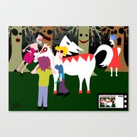 The curious incident of a lady and the unicorn of super white man  Canvas Print
