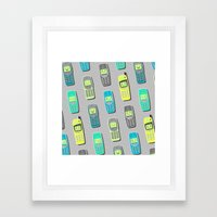 Vintage Cellphone Pattern Framed Art Print