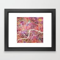 Framed Art Print featuring London  by MapMapMaps.Watercolo…