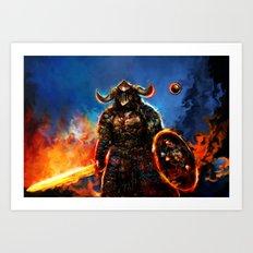 viking and his droid Art Print