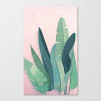 Tropical plants on pink background Canvas Print