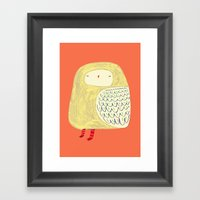 Cute Owl. owl art, owl illustration, owl print, owl decor, nature,  Framed Art Print