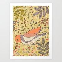 Wild Berry Garden Bird Art Print