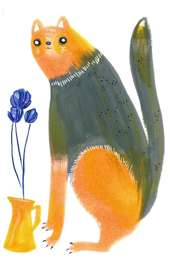 Kittens Like Flowers Too Art Print
