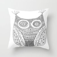 Owl Doodle art Throw Pillow