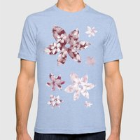 Pink and White Tropical Flowers Mens Fitted Tee Tri-Blue SMALL