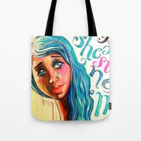 She'd be standing next to me.  Tote Bag
