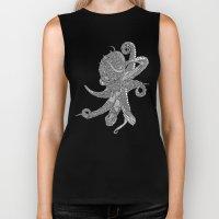 Octopus Bloom black and white Biker Tank