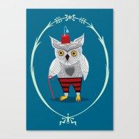 Olaf The Old Grey Owl Canvas Print