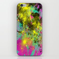 Stargazer - Abstract cyan, black, purple and yellow oil painting iPhone & iPod Skin