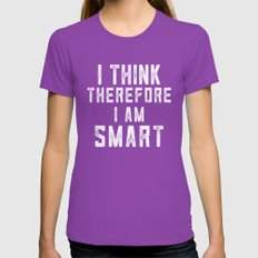 I think, therefore I am Smart (on black) Womens Fitted Tee Ultraviolet SMALL
