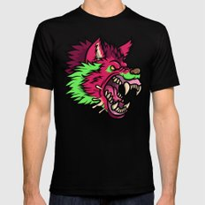 Pink Punk Wolf Black Mens Fitted Tee SMALL