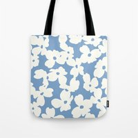 Dogwood Floral Print: Sky Blue Tote Bag