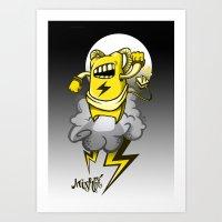 StormBot - yellow robot Art Print