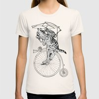 Steam Punk Tabby Cat Womens Fitted Tee Natural SMALL