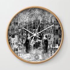 Summer space, smelting selves, simmer shimmers. 26, grayscale version Wall Clock