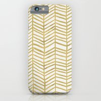 paint iPhone & iPod Cases featuring Gold Herringbone by Cat Coquillette