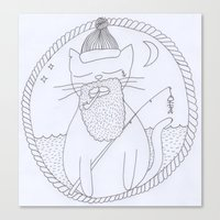 Cat Fisherman Canvas Print