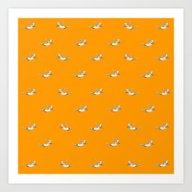 The Diver - Orange Patte… Art Print