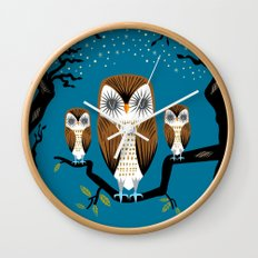 Three Lazy Owls Wall Clock