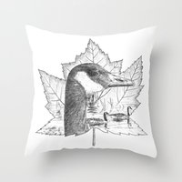 Canada Goose on Maple Leaf Throw Pillow
