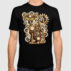 Steampunk Cat Vintage Style SMALL Mens Fitted Tee Black