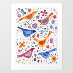 Birds in a Garden Art Print