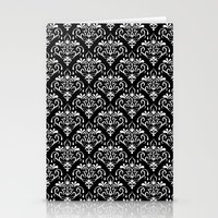 damask pattern back and white Stationery Cards