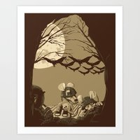 Woodland wars Art Print