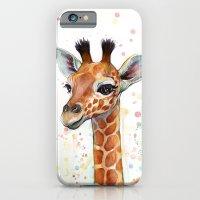 giraffe iPhone & iPod Cases featuring Giraffe Baby by Olechka