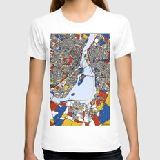 Montreal Mondrian Map Womens Fitted Tee White SMALL