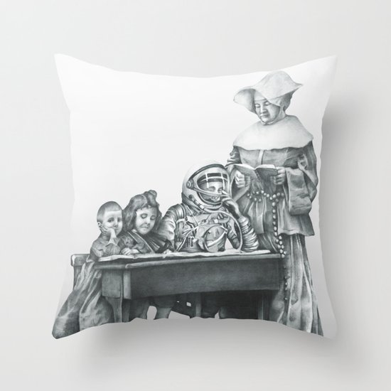 In which a cosmonaut is rendered quizzical Throw Pillow
