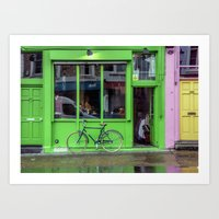Green Shop And Bicycle Art Print