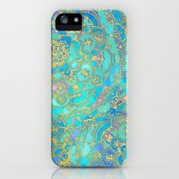 iPhone 5s & iPhone 5 Cases featuring Sapphire & Jade Stained Glass Mandalas by micklyn