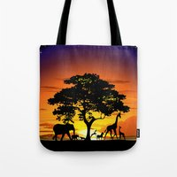 Wild Animals on African Savanna Sunset  Tote Bag