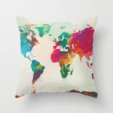 Watercolor World Map Throw Pillow