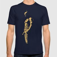KNIGHT IN THE DARK Mens Fitted Tee Navy SMALL