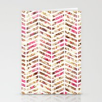 Pink Vintage Floral Girly Chevron Zig Zag Pattern Stationery Cards