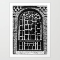 B&W Stained Glass Art Print