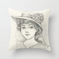 Sketch of an Edwardian Lady Throw Pillow