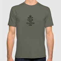 KEEP CALM AND CLUTCH ON Mens Fitted Tee Lieutenant SMALL