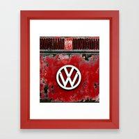 VW Retro Red Framed Art Print