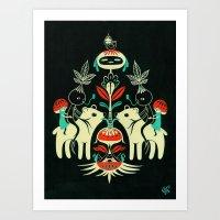 Mandragora and bear / Mandragora y oso Art Print