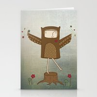 Little Owl Girl Stationery Cards
