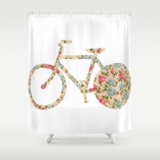 Whimsical cute girly floral retro bicycle Shower Curtain