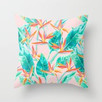 Birds of Paradise Blush Throw Pillow