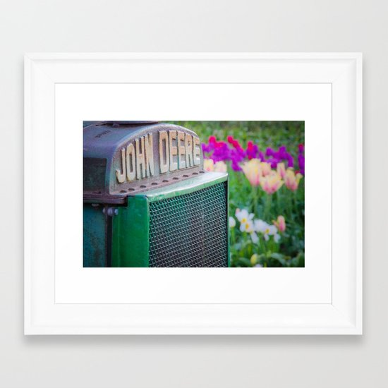 John Deere in the Tulips Framed Art Print