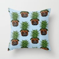 Throw Pillow featuring Pineapple Pug  by Huebucket