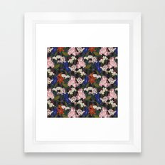 Botanical floral stripe Framed Art Print