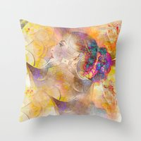 profile woman and flowers Throw Pillow